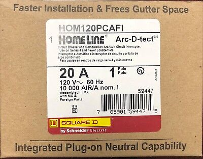 Lot Of 10 Square D Homeline Hom120pcafi Arc-fault Afci 20a Plug On Neutral New