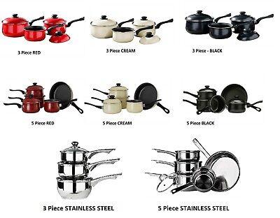 Saucepan Set Belly Pans Non Stick Steel  Pots- Bakelite Cookware-Kitchen NEW