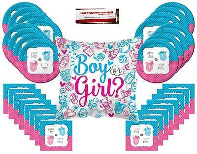 Gender Reveal Boy or Girl Party Supplies Pack Bundle for 16 plus Large 18 Inc... (Boy Gender Reveal)