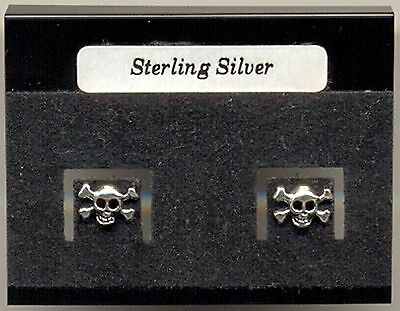 Small Skull & Crossbones Sterling Silver 925 Studs Earrings Carded
