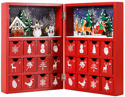 BRUBAKER Advent Calendar Wooden Christmas Book with 24 drawers - Red