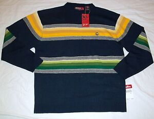 Mecca Mens Striped Sweater Size Large Blue Yellow White NWT Free Shipping