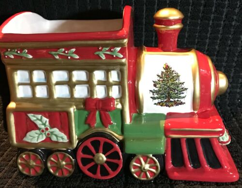 Hand Painted Spode Christmas Tree Train Ceramic Planter 1938 Reproduction Number
