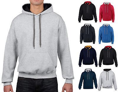 Mens Hoodie Gildan Contrast Hooded Top Contrast Heavy Blend Hoodie Hoody GD055 Heavy Hooded Top