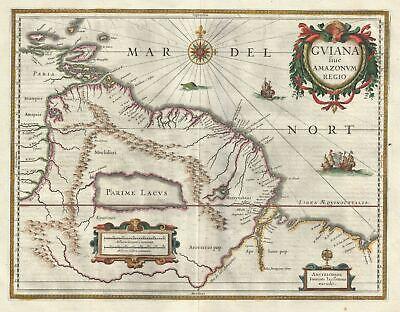 1635 Bleau Map of Guiana, Venezuela and El Dorado
