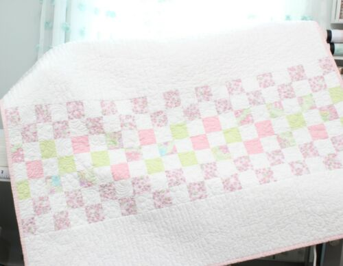 LITTLE 9 PATCH ROW ~ New Handmade Baby Girl Quilt