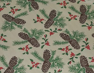 VTG CHRISTMAS PINECONE HOLLY STORE WRAPPING PAPER  2 YARDS GIFT WRAP RETRO