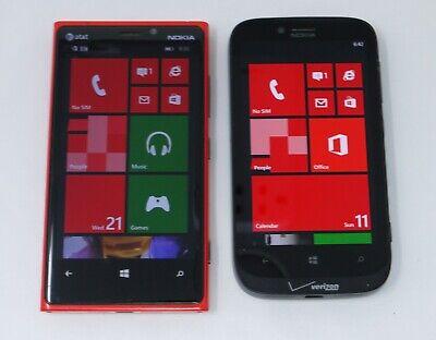 Lot of 2 Working Nokia Lumia Windows Mobile Smartphones - Lumia 920 & Lumia 822