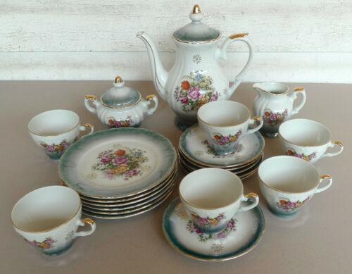 Vintage blue floral Lustreware 21 pc tea set pot creamer sugar dessert gold trim