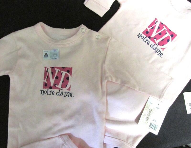 Baby ONESIES, (2) Notre Dame Licensed, Lg. sleeve, College Kids, Stadium Store,