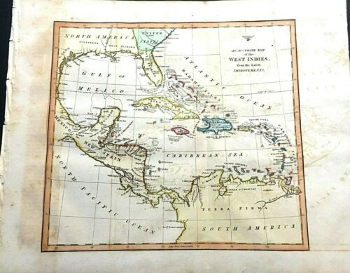 1822 MAP OF THE WEST INDIES COLOR