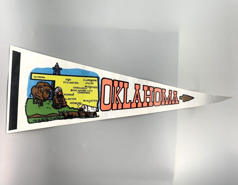 """Vintage Pennant Felt Souvenir Oklahoma 23.5"""""""