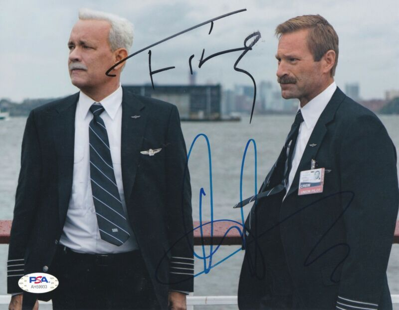 Tom Hanks Aaron Eckhart Signed 8x10 photo Sully PSA DNA