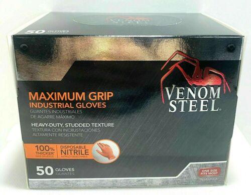 Venom STEEL Heavy-Duty Studded Texture 100% Thicker Disposable Nitrile 50 Gloves