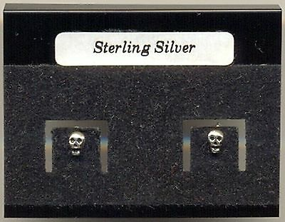 Tiny Skull Face Sterling Silver 925 Studs Earrings Carded