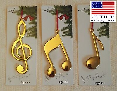 Music Note group of 3, Solid Metal Gold (Music Note Ornamente)