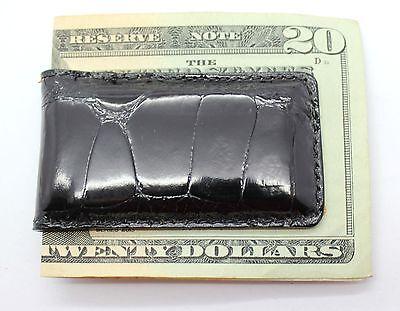Black Glazed Distressed  Alligator Large Tile Magnetic Money Clip US MADE BDG1