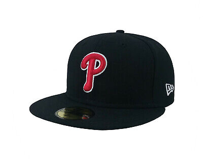 New Era 59Fifty Hat Mens MLB Philadelphia Phillies Black Red P White Fitted Cap