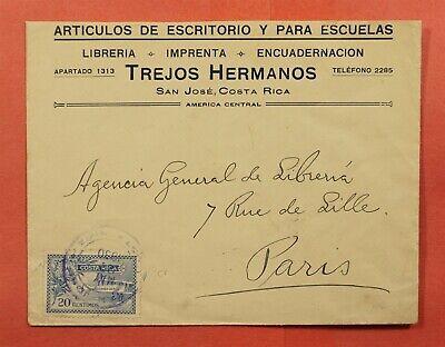 #C1 ON 1930 COSTA RICA ADVERTISING SAN JOSE TO FRANCE