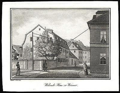WEIMAR Wielands Haus schöner Kupferstich 1840 Original!