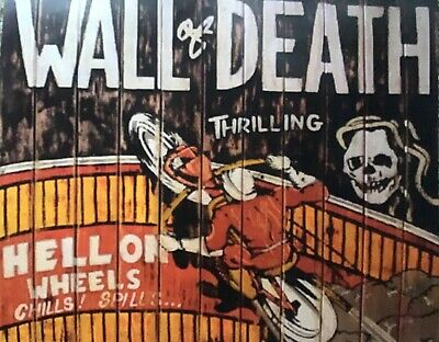 WALL OF DEATH/ INDIAN /BSA (vintage advert poster) HELL ON WHEELS chills &spills