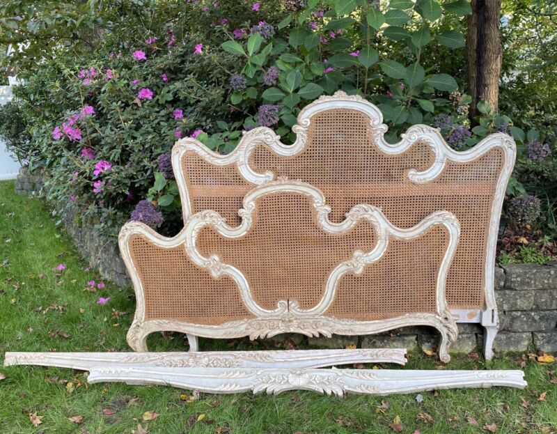 Antique French Double Caned Full Handcarved Bed Headboard Footboard Can Ship!