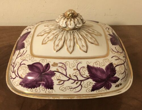 Antique 19th c. Worcester Flight Barr Porcelain Serving Entree Dish Tureen 1820
