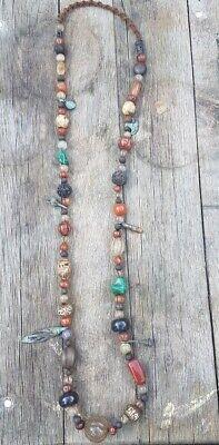 Long Vintage semiprecius stones Trade Beads