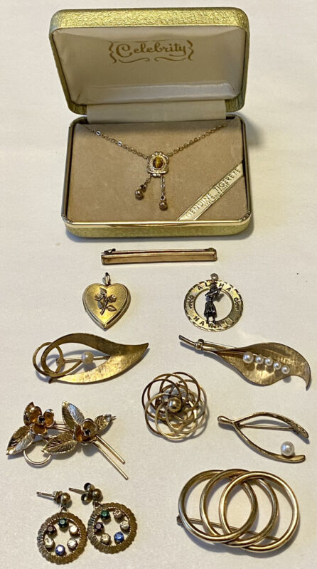 Vintage Designer Signed Gold Filled Jewelry Lot Necklace Locket Pins Earrings+