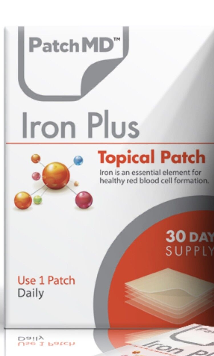 PatchMD Iron Plus Topical Patch vitamin Supplement 30 Day BE