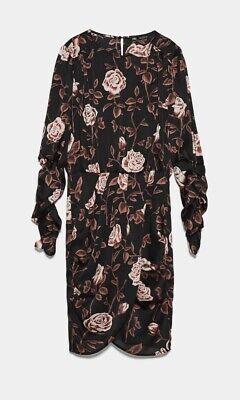 ZARA Black and Pink Floral Mini Dress NWT Size Large
