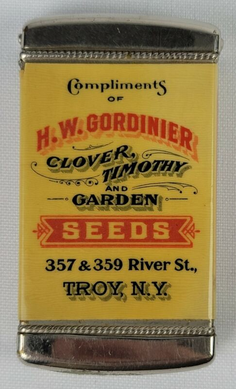 Rare Antique Celluloid Advertising Match Safe HW Gordinier Troy NY Seeds Feeds