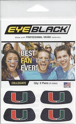 UNIVERSITY MIAMI HURRICANES EYE BLACK STICKERS DECALS 2 PAIR 2 DIFFERENT (Different Eye Black Styles)