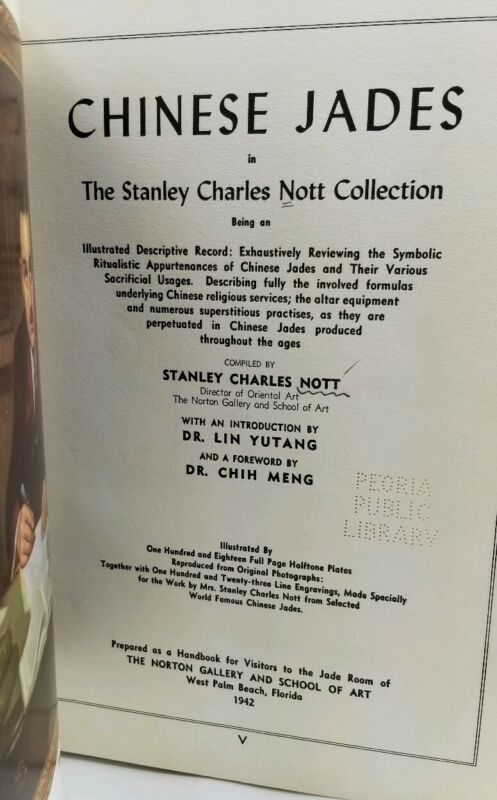Chinese Jades Stanley Charles Nott 1st Ed Numbered Antq Asian Art Jadeite Hist