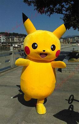 Pikachu Mascot Costume ( Brand Halloween dress  Pikachu Mascot Costume Pokemon Go Cosplay game Adults)
