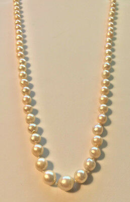 Baroque AKOYA Pearls - GRADUATED 6-9 Mm 65 Pearls Silver Clasp OLD - $175.00