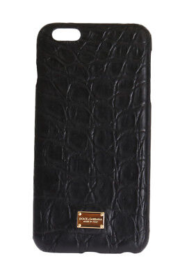 NEW $700 DOLCE & GABBANA Phone Case Black Pattern Leather Gold Logo iPhone6 Plus