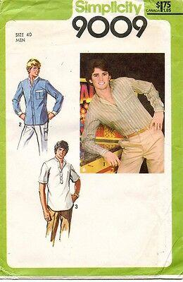 1970's VTG Simplicity Men's Shirt Pattern 9009 Size 40 UNCUT