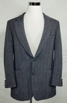 J.B. Britton Harris Tweed Sz 42R 100% Wool Drak Gray 2 Button Blazer Herringbone
