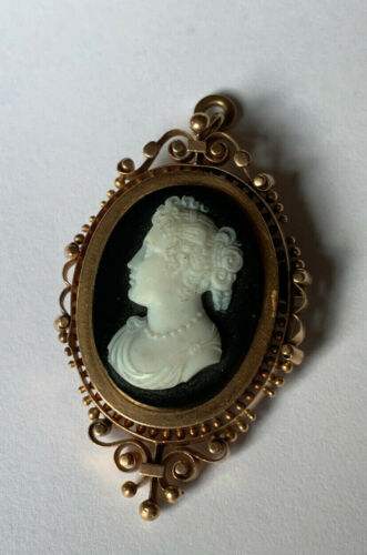 ANTIQUE CAMEO BROOCH 14k ROSE GOLD BLACK AND WHITE HARD STONE CAMEO AMAZING!