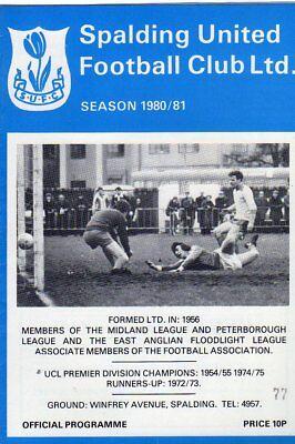 SPALDING UTD  V  ILKESTON TOWN 18/10/1980 midland league PROGRAMME