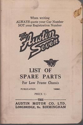 AUSTIN 7 SEVEN LOW FRAME CHASSIS ORIGINAL 1936 FACTORY ILLUSTRATED PARTS LIST