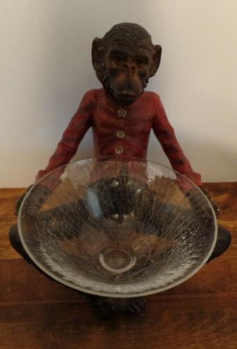 VTG Monkey Butler with crackled glass bowl