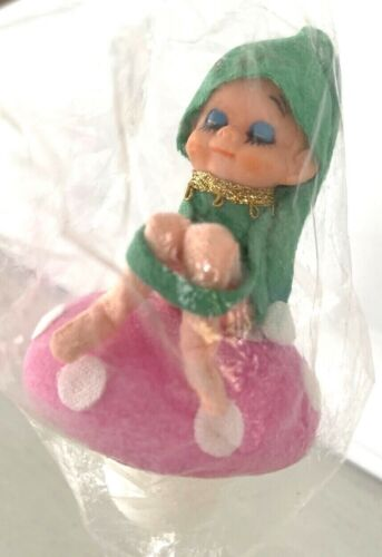 Vintage Christmas Felt Pixie Elf Knee Hugger Flocked Mushroom COMMODORE Japan