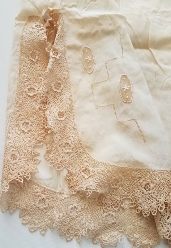 Antique Silk Tap Pants Panty Irish Crochet Lace Trim Rare Plus Size 3X Edwardian
