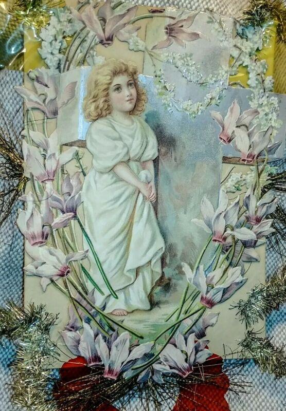 "1800 Die Cut Paper Tinsel Angel Beautiful Lily Garland & Satin Cross 10""×10"""