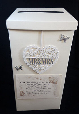 Mr & Mrs Wooden Heart Wedding Card Money Post Box Personalised Silver Butterflys