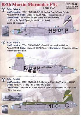 Print Scale Decals 1/72 MARTIN B-26F/G MARAUDER American WWII Bomber Part 2 for sale  USA