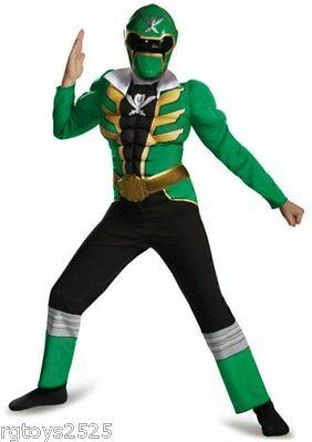 Power Rangers Super Megaforce Costume (Power Rangers Size 7-8 Medium Super Megaforce Green Muscle Child Costume New)