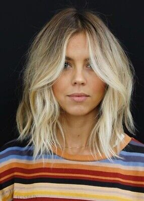 Wie Echthaar!Natürliche Mode Hellblond Gewellt Mittel - Blonde Mod Perücke
